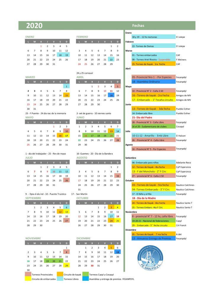 calendario 2020 en colores b